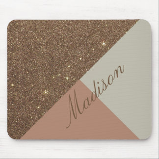 Glamorous Faux Gold Glitter and Taupe Monogram Mouse Pad