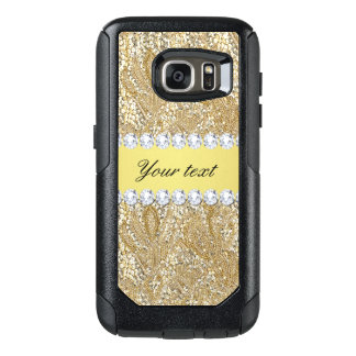 Glamorous Faux Gold Sequins and Diamonds OtterBox Samsung Galaxy S7 Case