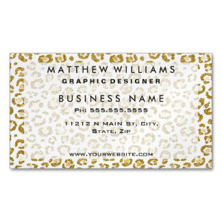 Glamorous Faux Sparkly Gold Leopard Magnetic Business Card