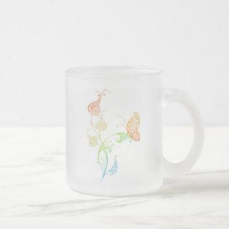Glamorous flowers frosted glass mug