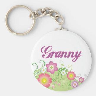 Glamorous flowers Granny Basic Round Button Key Ring