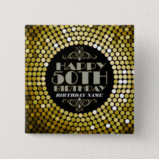 Glamorous Glitter Happy 50th Birthday 2 15 Cm Square Badge