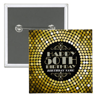 Glamorous Glitter Happy 50th Birthday 2 15 Cm Square Badge