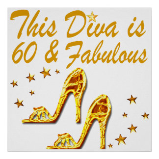 GLAMOROUS GOLD 60TH BIRTHDAY POSTER