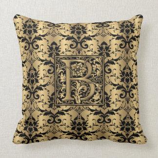 Glamorous Gold and Black Damask Print Monogram B Throw Pillow
