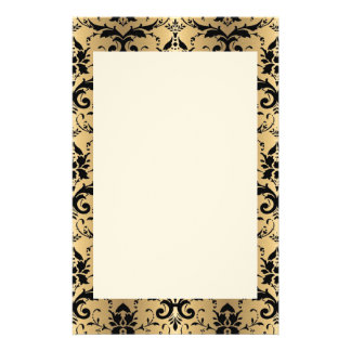 Glamorous Gold and Black Damask Print Stationery