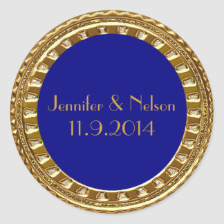 Glamorous Gold and Blue Wedding Envelope Seal Round Sticker