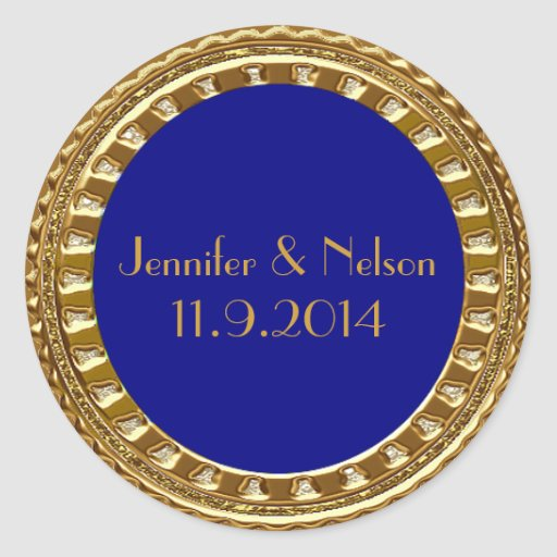 Glamorous Gold and Blue Wedding Envelope Seal Round Stickers