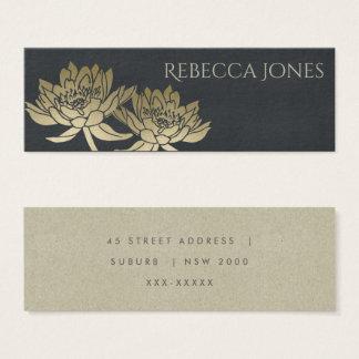 GLAMOROUS GOLD BLUE BLACK LOTUS FLORAL  ADDRESS MINI BUSINESS CARD