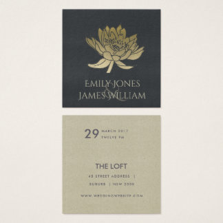 GLAMOROUS GOLD BLUE BLACK LOTUS FLORAL WEDDING SQUARE BUSINESS CARD