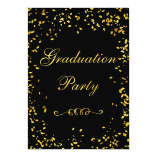 Glamorous Gold Confetti Graduation Party 5x7 Paper Invitation Card