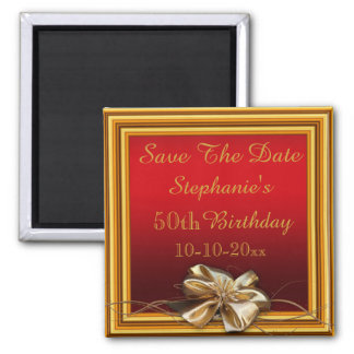 Glamorous Gold Frame & Faux Bow 50th Birthday Magnet