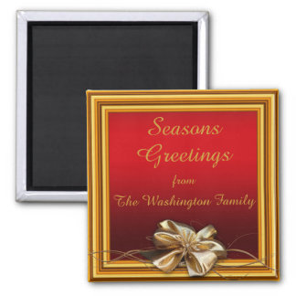 Glamorous Gold Frame & Faux Bow Christmas Square Magnet