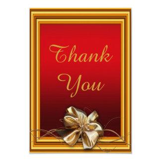 Glamorous Gold Frame & Faux Bow Thank You 9 Cm X 13 Cm Invitation Card