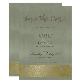 GLAMOROUS GOLD GREY DOTS MOSAIC SAVE THE DATE CARD