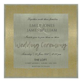 GLAMOROUS GOLD GREY DOTS MOSAIC WEDDING CARD