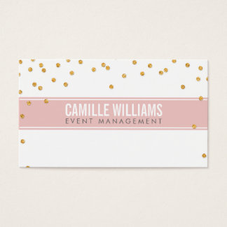 GLAMOROUS gold sparkly glitter confetti baby pink Business Card