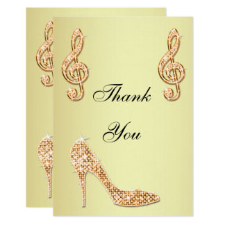 Glamorous Gold Stiletto & Music Note Thank You 9 Cm X 13 Cm Invitation Card