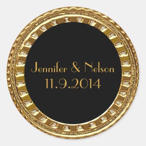 Glamorous Gold Tone Wedding Envelope Seal Round Sticker