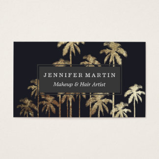 Glamorous Gold Tropical Palm Trees on Black Business Card
