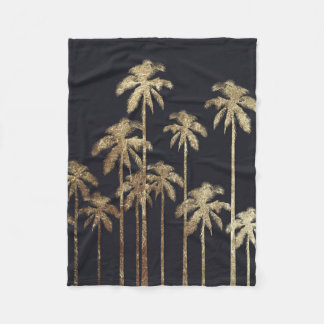 Glamorous Gold Tropical Palm Trees on Black Fleece Blanket