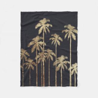 Glamorous Gold Tropical Palm Trees on Black Fleece Blanket