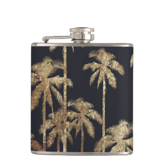 Glamorous Gold Tropical Palm Trees on Black Hip Flask