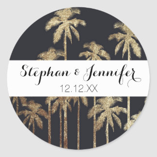 Glamorous Gold Tropical Palm Trees on Black Round Sticker