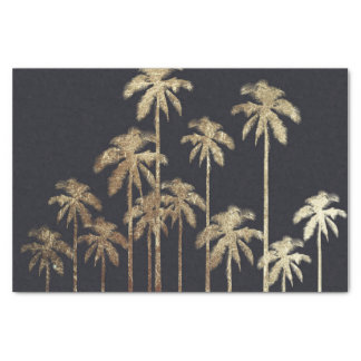 Glamorous Gold Tropical Palm Trees on Black Tissue Paper