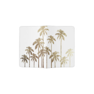 Glamorous Gold Tropical Palm Trees on White Passport Holder