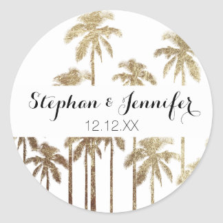 Glamorous Gold Tropical Palm Trees on White Round Sticker