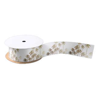 Glamorous Gold Tropical Palm Trees on White Satin Ribbon