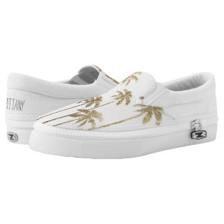 Glamorous Gold Tropical Palm Trees on White Slip-On Shoes