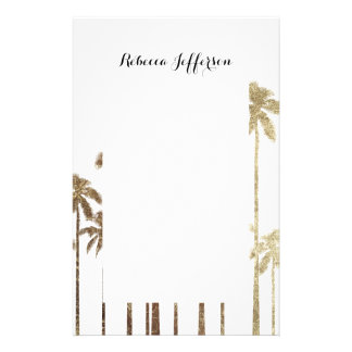 Glamorous Gold Tropical Palm Trees on White Stationery Design