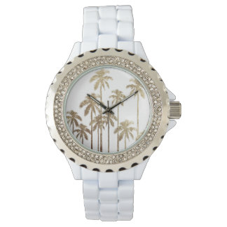 Glamorous Gold Tropical Palm Trees on White Watch