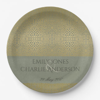GLAMOROUS GOLD VELVET GREY MOSAIC DOT PERSONALISED PAPER PLATE