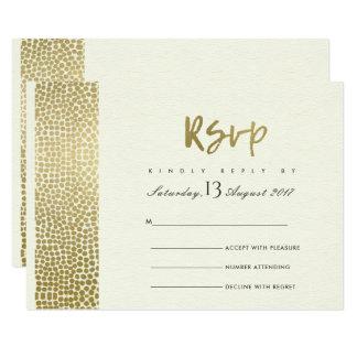 GLAMOROUS GOLD WHITE DOTS MOSAIC RSVP CARD