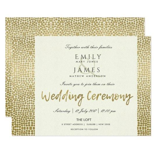 GLAMOROUS GOLD WHITE DOTS MOSAIC WEDDING CARD