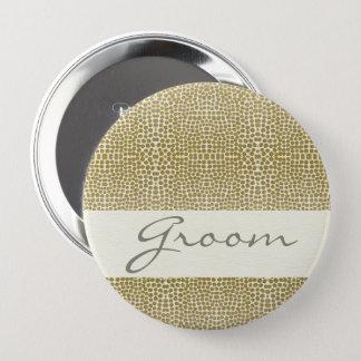 GLAMOROUS GOLD WHITE MOSAIC DOTS GROOM 10 CM ROUND BADGE