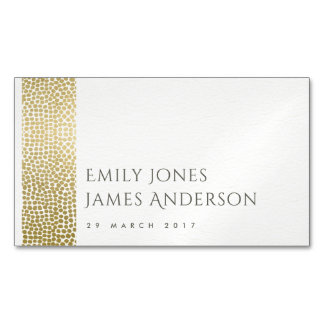 GLAMOROUS GOLD WHITE MOSAIC DOTS  SAVE THE DATE Magnetic BUSINESS CARD
