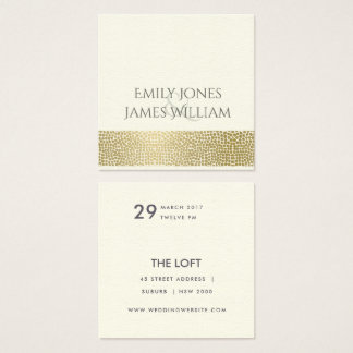 GLAMOROUS GOLD WHITE MOSAIC DOTS WEDDING SQUARE BUSINESS CARD