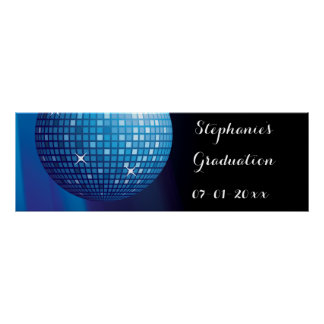 Glamorous Graduation Blue Party Disco Ball Poster