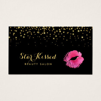 Glamorous Hot Pink Kiss With FAUX Gold Glitter Business Card