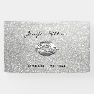 Glamorous modern chic faux silvery lips glittery