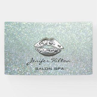 Glamorous modern chic glittery silver lips banner