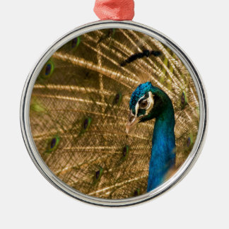 Glamorous Peacock Silver-Colored Round Decoration