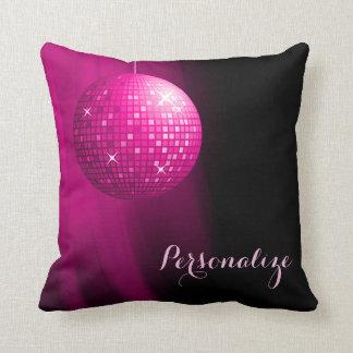 Glamorous Personalized Hot Pink Disco Ball Cushion