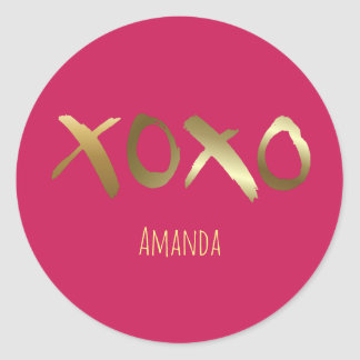 Glamorous Pink Gold XOXO Valentine Sweetheart Round Sticker