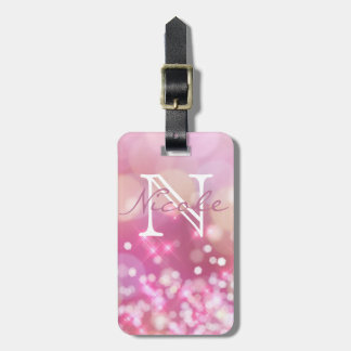 Glamorous Pink Sparkle Monogram Luggage Tag
