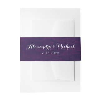 Glamorous Purple Background with White Script Invitation Belly Band